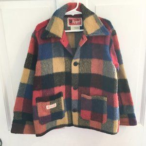 VTG 1970's Wool Blend Plaid Button Jacket SZ 8